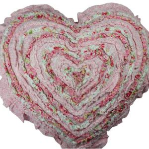 French Country New Cushion MILLIE Ruffled Heart Cushion Filled 45cm new