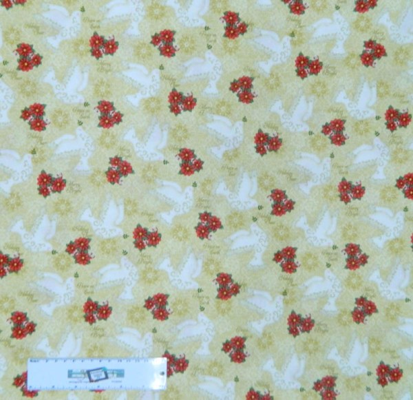 Patchwork Quilting Fabric XMAS PEACE DOVES FLOWERS Sewing Cotton FQ 50X55cm NEW