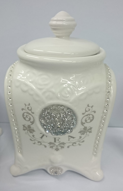 French Country Elegant Kitchen Canisters, Tea, Coffee, Sugar Bling With  Seals NEW