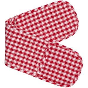 Gingham Check Kitchen Double Oven Gloves RED CHECK Pot Holder Mitts New