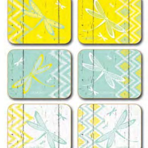 Country Inspired Kitchen HELLO YELLOW Cinnamon Cork backed Placemats or Coasters Set 6