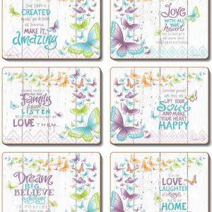 Country Inspired Kitchen INNER LOVE Cinnamon Cork backed Placemats or Coasters Set 6 NEW