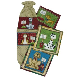 Country Kitchen Handmade Bagholder, Teatowel & 2 x Pot Holders Dogs 2 Gifts NEW