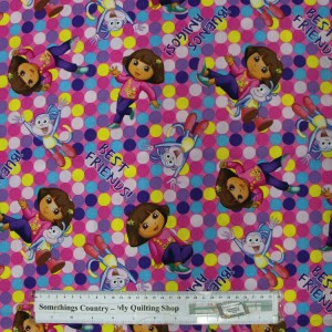 Quilting Patchwork Cotton Sewing Fabric DORA EXPLORER 50x55cm FQ NEW Material www.somethingscountry.com.au