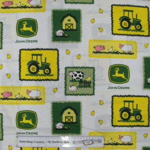 Quilting Patchwork Cotton Sewing Fabric JOHN DEERE FARM KIDS 50x55cm FQ NEW Material www.somethingscountry.com.au