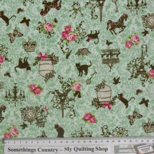 Quilting Patchwork Cotton Sewing Fabric PARIS FILIGREE GREEN 50x55cm FQ NEW Material www.somethingscountry.com.au