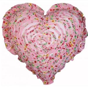 French Country New Cushion ALICE Ruffled Heart Cushion Filled 45cm new