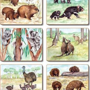 Country Inspired Kitchen Aussie ANIMAL FAMILIES Cinnamon Cork Backed Placemats or Coasters Set 6