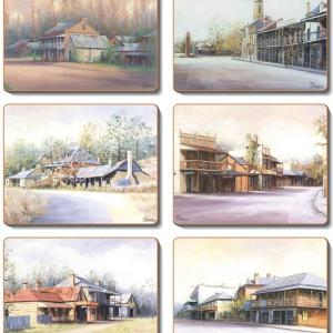 Country Inspired Kitchen COUNTRY TOWNS Cinnamon Cork backed Placemats or Coasters Set 6