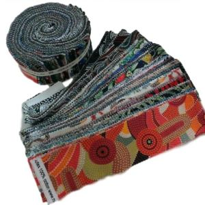 Patchwork Quilting 2.5inch strips Jelly Roll AUSSIE & ABORIGINAL PRINTS Fabric New
