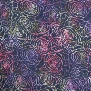 Quilting Patchwork Sewing Batik BLACK SCRAFFITO ROSES Cotton 50x55cmFQ NEW