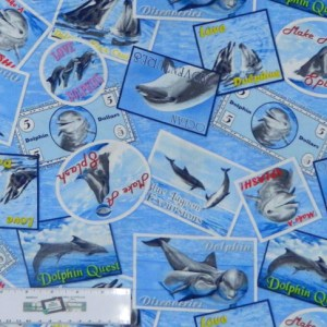 Quilting Patchwork Cotton Sewing Fabric DOLPHINS ALLOVER 50x55cm FQ NEW