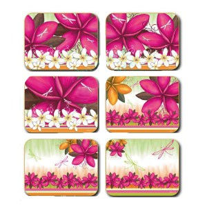 Country Kitchen SUMMER FRANGIPANNI Cork Backed Coasters Set 6 Cinnamon New
