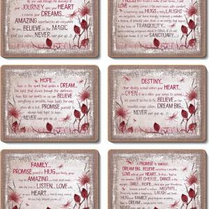 Country Kitchen HEART AFFIRMATIONS Cork Placemats/Coasters Set 6 NEW Cinnamon