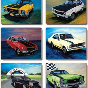 Country Kitchen HOT CLASSICS CARS Cork backed Placemats/Coasters Set 6 NEW Cinnamon