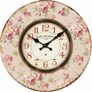 Clock French Country Vintage Inspired Wall FLORAL 1 Decorative Clocks Time 34cm NEW