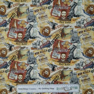 Quilting Patchwork Sewing Cotton Fabric NED KELLY WANTED 50x55cm FQ NEW