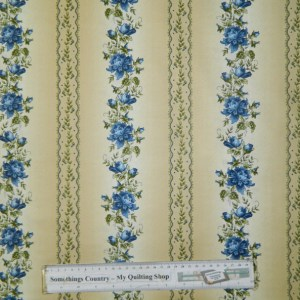 Quilting Patchwork Sewing Cotton Fabric BLUE FLOWERS BORDER 50x55cm FQ NEW