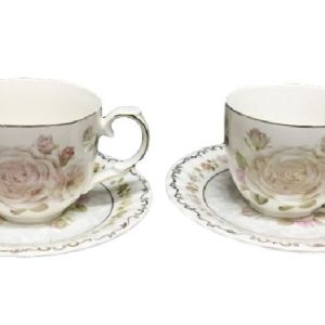 French Country Chic Kitchen Tea Cups & Saucers Set of 2 PALE ROSES New FREEPOST