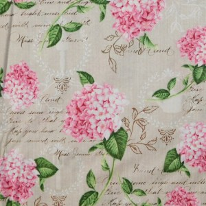 Quilting Patchwork Sewing Fabric PINK HYDRANGEA Cotton Material 50x55cmFQ NEW