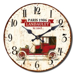 French Country Chic Wall Clocks Retro Inspired 30cm LANDAULET CAR New Time