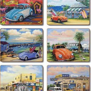 Country Inspired Kitchen VW BUGS Cinnamon Cork backed Placemats/Coasters Set 6