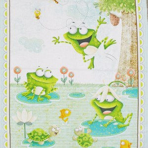 Patchwork Quilting Sewing Fabric FROG LAND Panel Material 60x110cm New