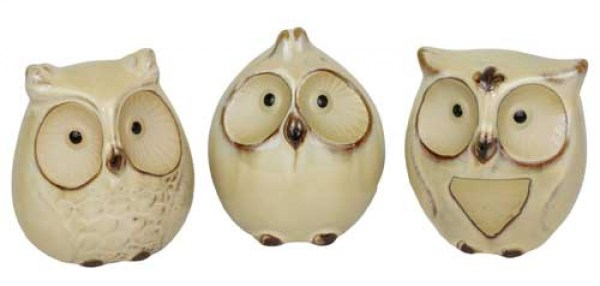 French Country Inspired Decorative Ornamental Set of 3 Owls Cute Figurines Collectable New