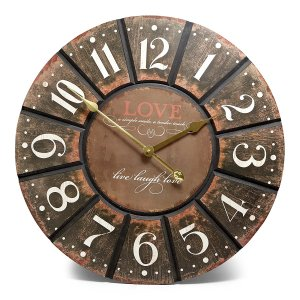 Clock French Country Vintage Inspired Wall Clock 60cm BLACK LOVE LARGE New Time