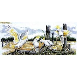 Country Threads Cross Stitch Counted X Stitch Pattern WHITE COCKATOOS New