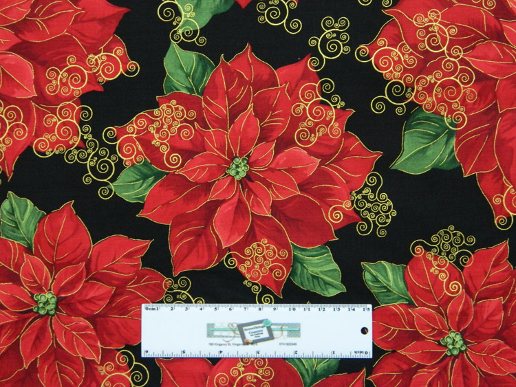 Quilting Patchwork Sewing Fabric RED XMAS FLOWERS ALLOVER 50x55cm FQ New