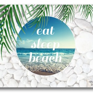 Country Inspired Kitchen EAT SLEEP BEACH Kelly Lane Cork Backed Placemats AND Coasters Set 6 NEW