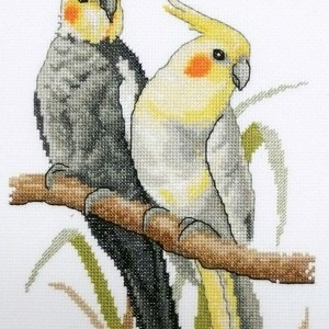 Country Threads Fiona Jude Cross Stitch Kit COCKATIELS Counted X Stitch NEW incl Thread
