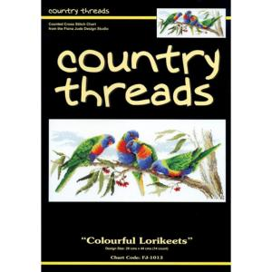 Country Threads Cross Stitch Counted X Stitch Pattern Graph LORIKEETS BIRDS New FJ-1013