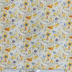 Quilting Patchwork Sewing Fabric TOOLS ON CREAM Cotton Material 50x55cm FQ NEW