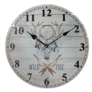Clock Country Vintage Inspired Wall Clocks 34CM INDIAN SKULL WILD FREE New Time