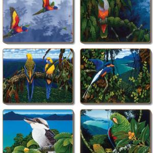Country Kitchen Aussie AUSTRALIAN BIRDS Cinnamon Cork Backed Placemats OR Coasters Set 6