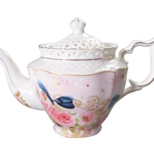 French Country Lovely Teapot PINK BLUE WREN China Tea Pot with Giftbox FREEPOST New