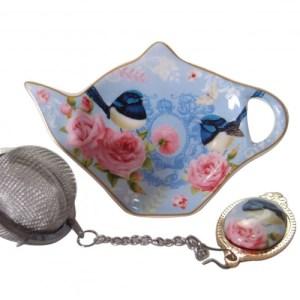 French Country Inspired Elegant China BLUE WREN Tea Bag Holder with Strainer Set New