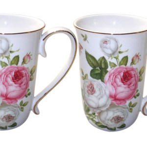 French Country Chic Kitchen Tea Coffee Mugs Elegant BUTTERFLY ROSE Set of 2 New