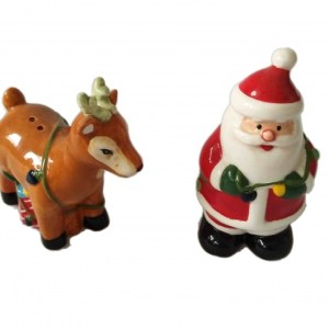 French Country Chic Collectable Salt and Pepper Set Christmas SANTA and REINDEER New
