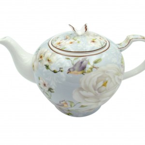 French Country Lovely Teapot WHITE ROSE China Tea Pot with Gift box New