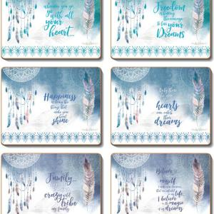 Country Kitchen FEATHERS & DREAMS Cork Backed Placemats or Coasters Set 6 NEW Cinnamon