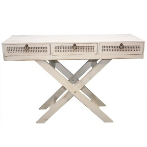 French Country Inspired White Timber 3 Drawer Dresser Console Table Wooden New