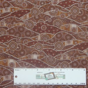 Patchwork Quilting Sewing Fabric DOWN UNDER BROWN DOTS ABORIGINAL 50x55cm FQ New