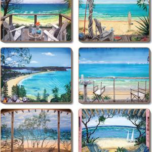 Country Kitchen COASTAL VERANDAH Cork Backed Placemats or Coasters Set 6 NEW Cinnamon