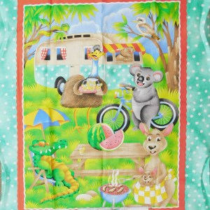 Patchwork Quilting Sewing Fabric AUSTRALIAN KOALA CARAVAN Panel 88x110cm New