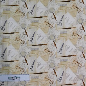 Patchwork Quilting Sewing Fabric VINTAGE LETTERS GLASSES 50x55cm FQ New
