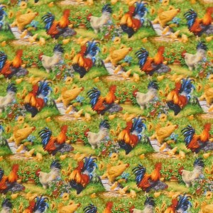 Patchwork Quilting Sewing Fabric OLD FARMSTEAD ROOSTERS 50x55cm FQ New