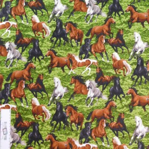 Patchwork Quilting Sewing Fabric HORSE PLAY Material 50x55cm FQ New